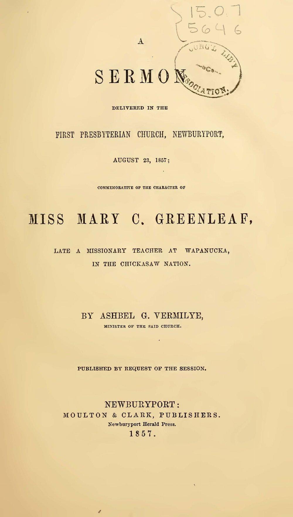 Vermilye, Ashbel Green, A Sermon Delivered in the First Presbyterian Church, Newburyport Title Page.jpg
