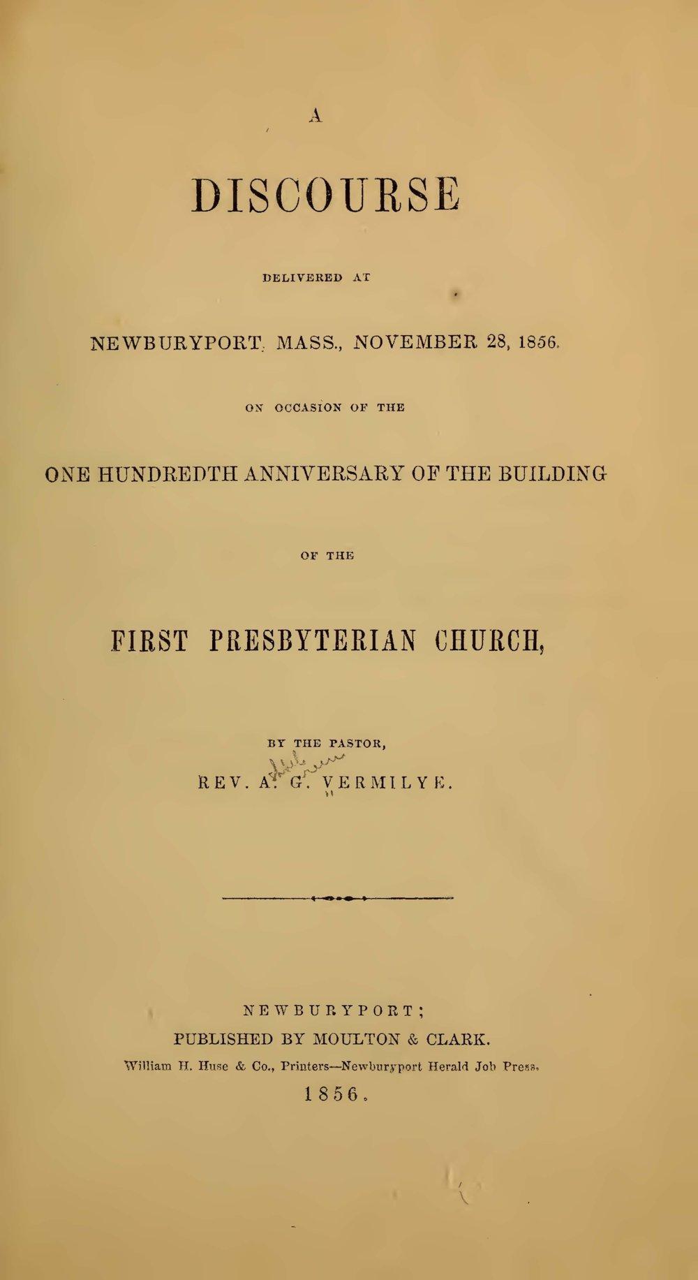 Vermilye, Ashbel Green, A Discourse Delivered at Newburyport, Mass. Title Page.jpg