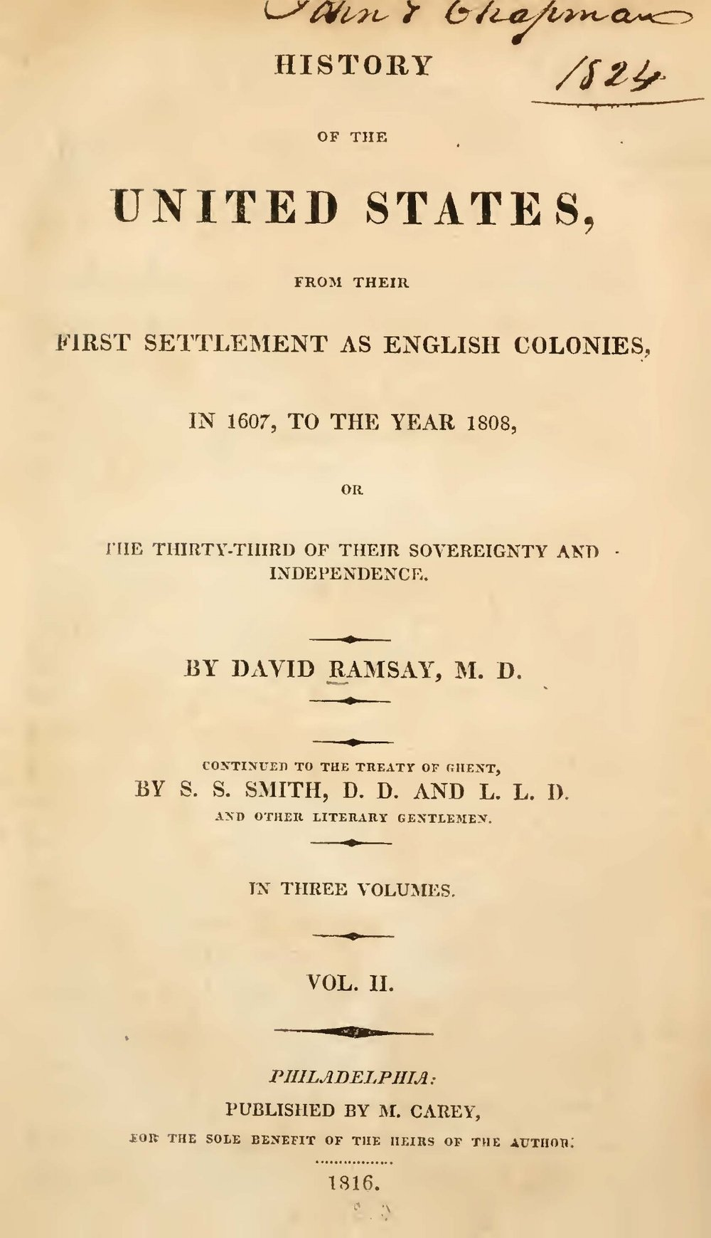 Ramsay, David, History of the United States, Vol. 2 Title Page.jpg