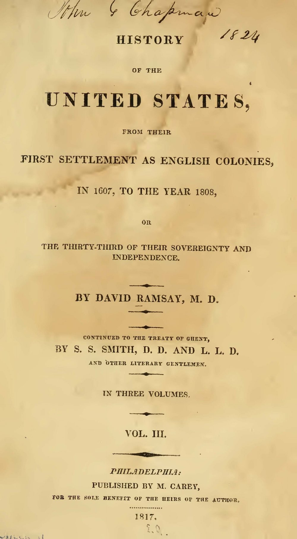 Ramsay, David, History of the United States, Vol. 3 Title Page.jpg
