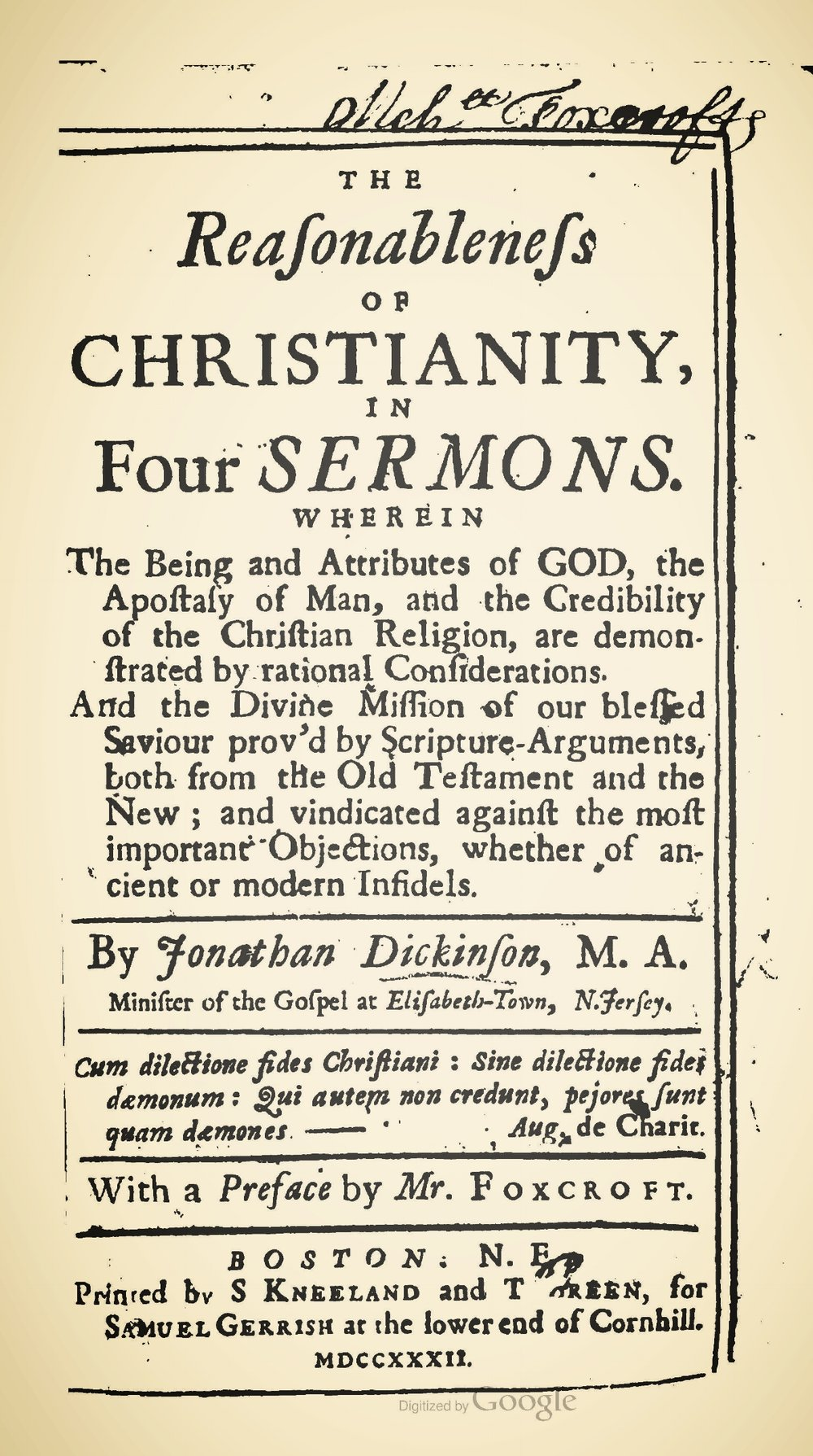 Dickinson, Jonathan, The Reasonableness of Christianity Title Page.jpg