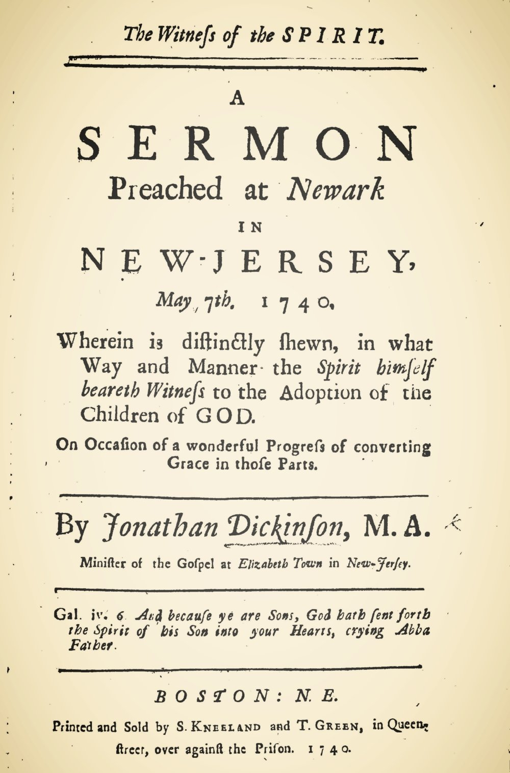 Dickinson, Jonathan, The Witness of the Spirit Title Page.jpg