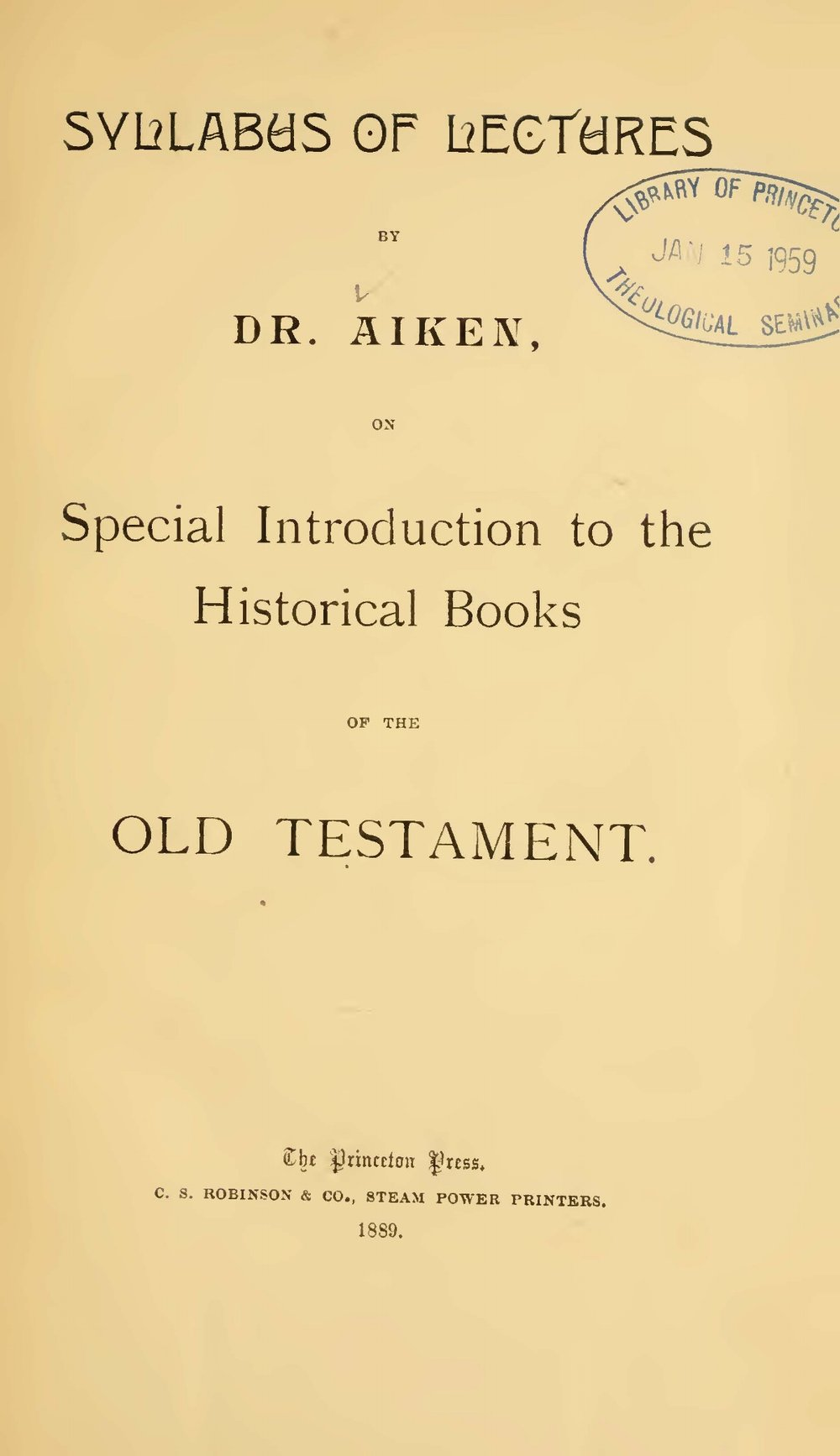 Aiken, Charles Augustus, Syllabus of Lectures Title Page.jpg