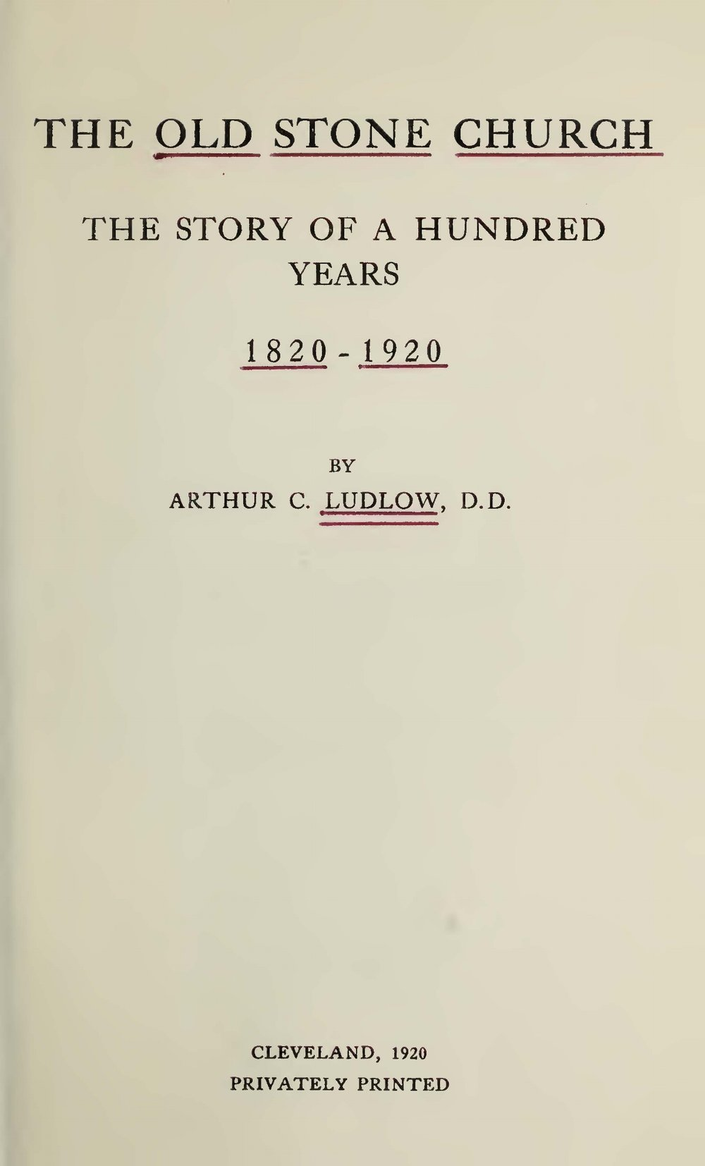 Ludlow, Arthur Clyde, The Old Stone Church Title Page.jpg