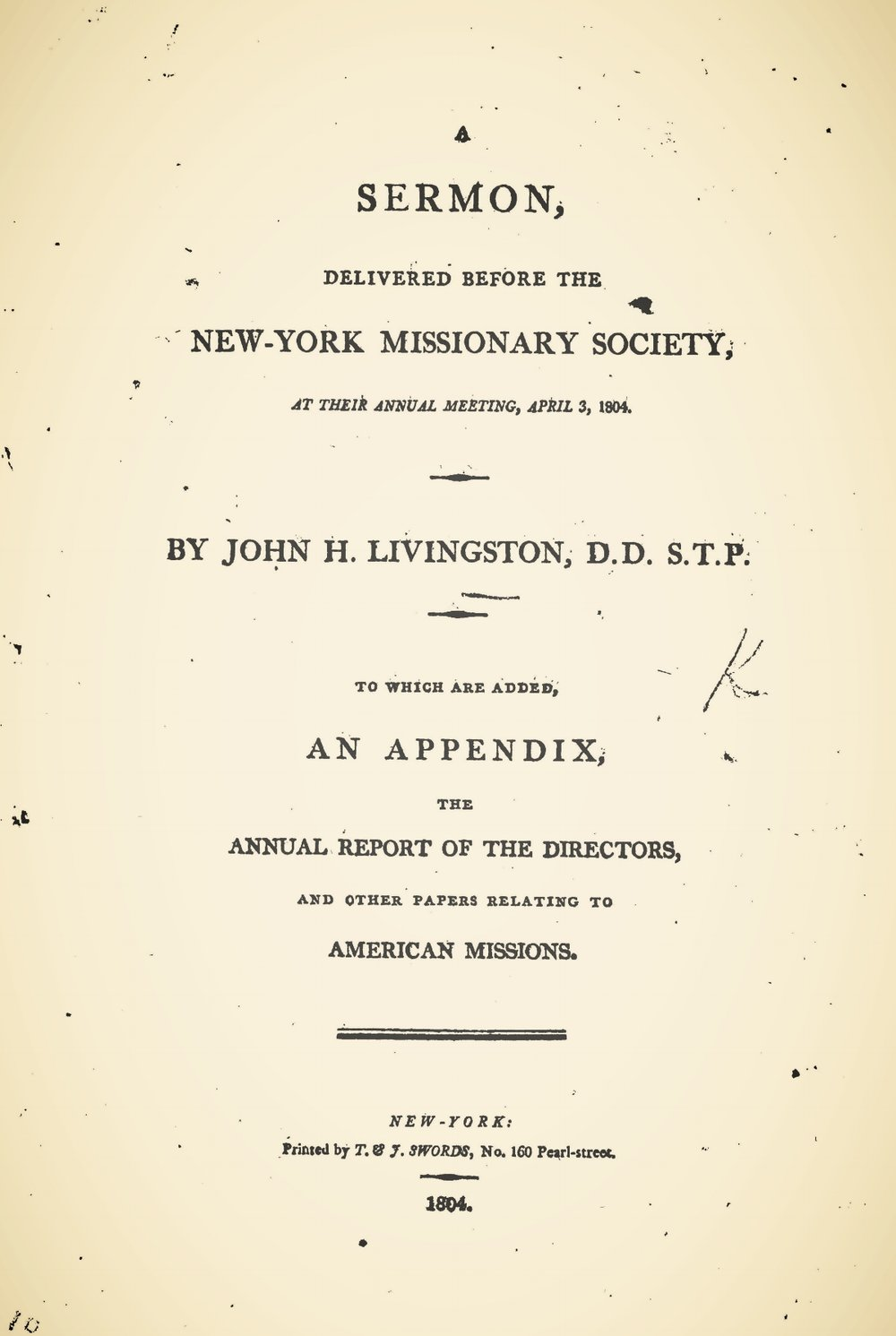 Livingston, John Henry, A Sermon Delivered Before the New-York Missionary Society Title Page.jpg
