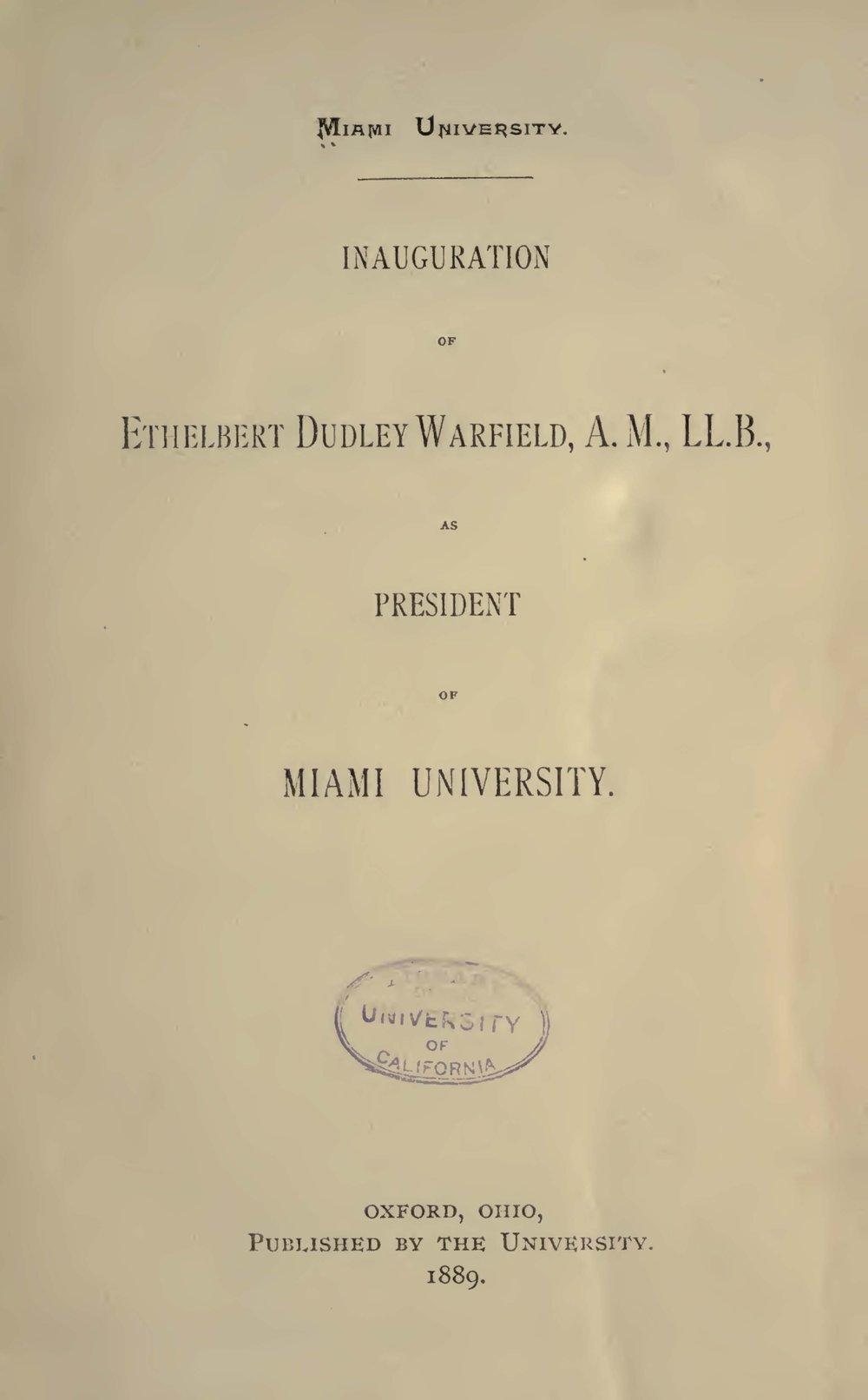 Warfield, Ethelbert Dudley, Inauguration of Ethelbert Dudley Warfield Title Page.jpg
