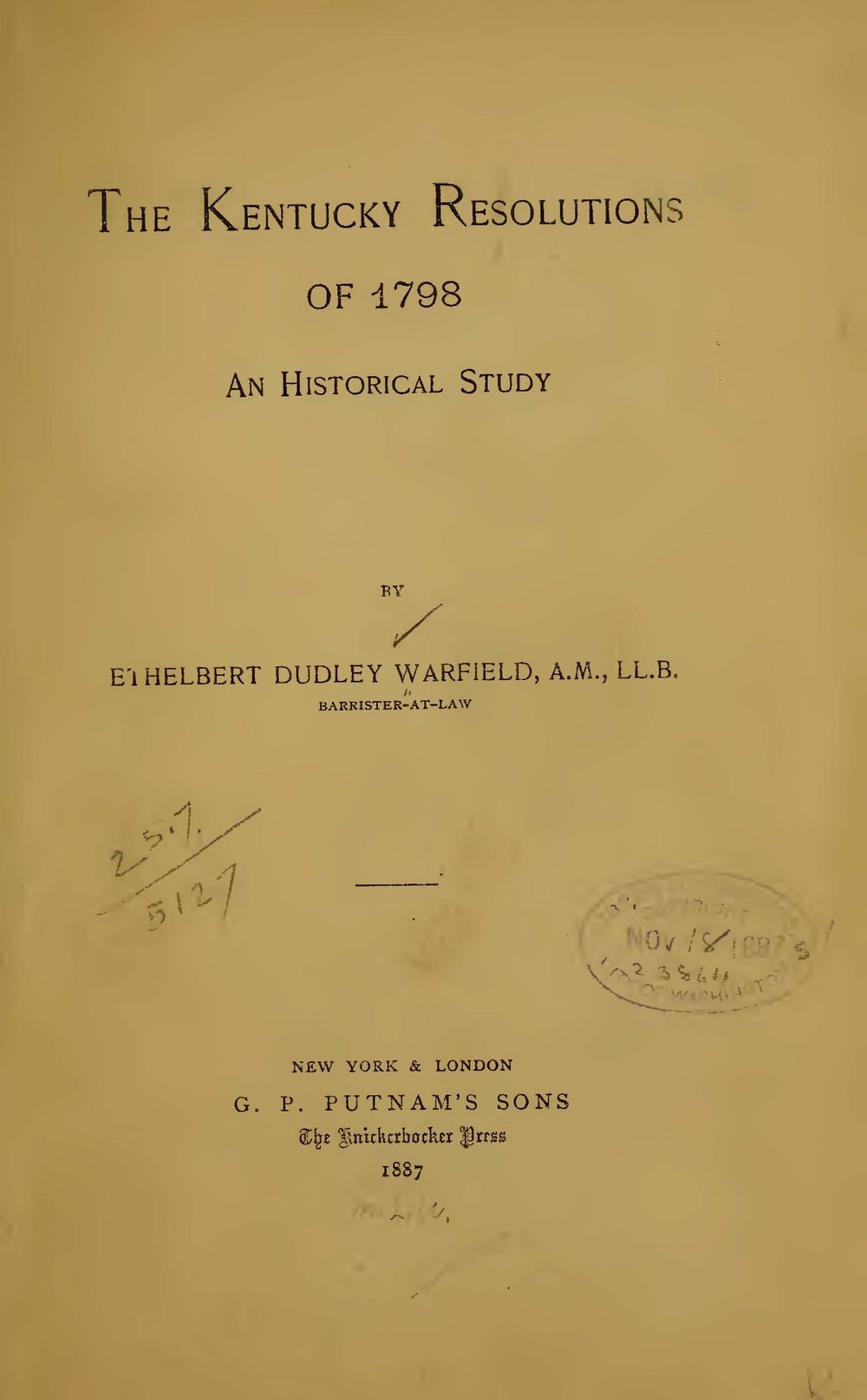 Warfield, Ethelbert Dudley, The Kentucky Resolutions of 1798 Title Page.jpg