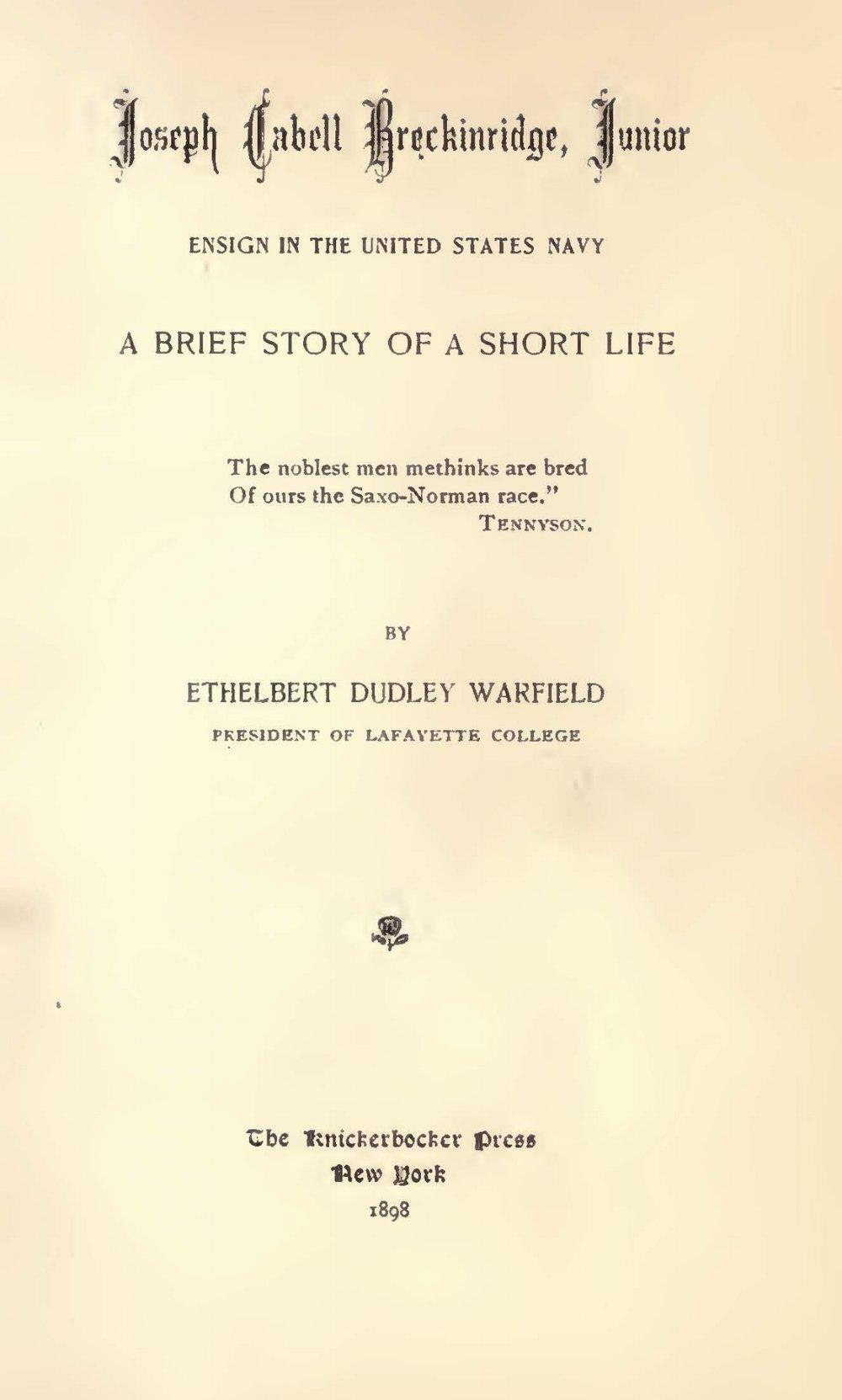 Warfield, Ethelbert Dudley, Joseph Cabell Breckinridge, Jr. Title Page.jpg