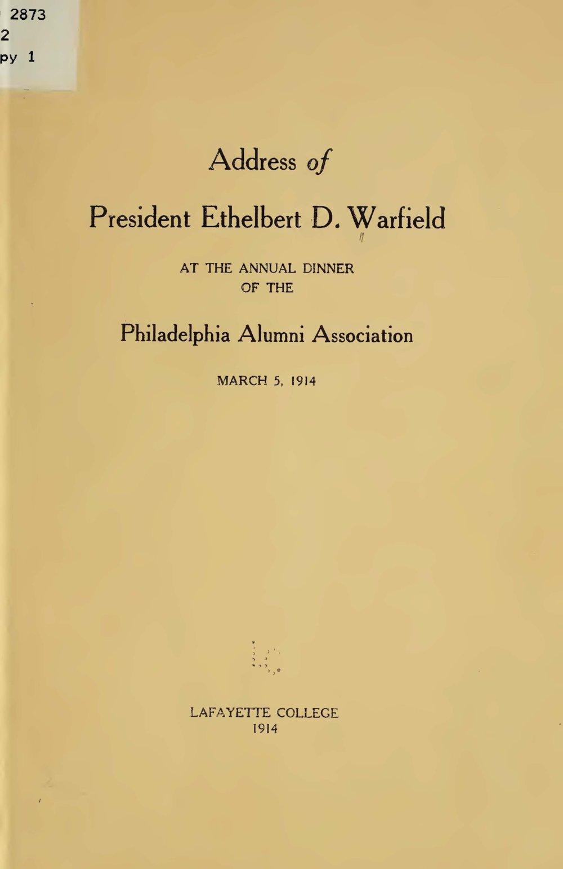 Warfield, Ethelbert Dudley, Address of President Ethelbert D. Warfield Title Page.jpg