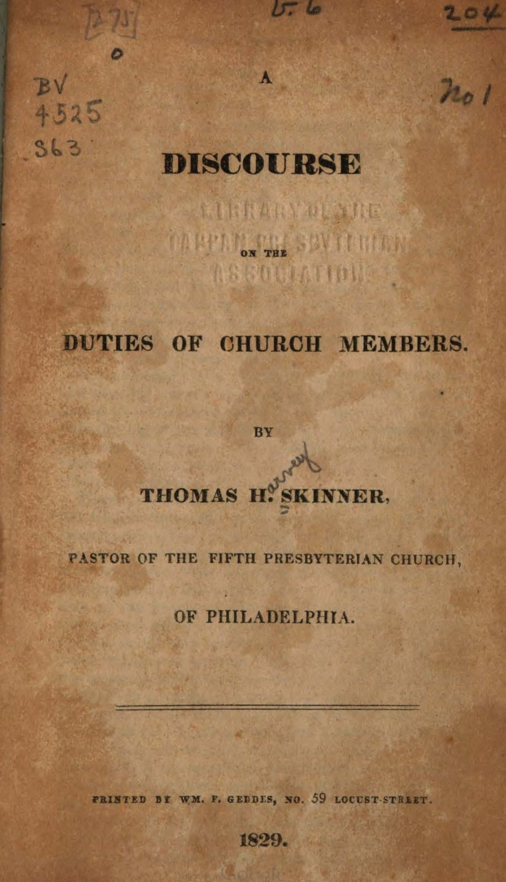 Skinner, Thomas Harvey, A Discourse on the Duties of Church Members Title Page.jpg