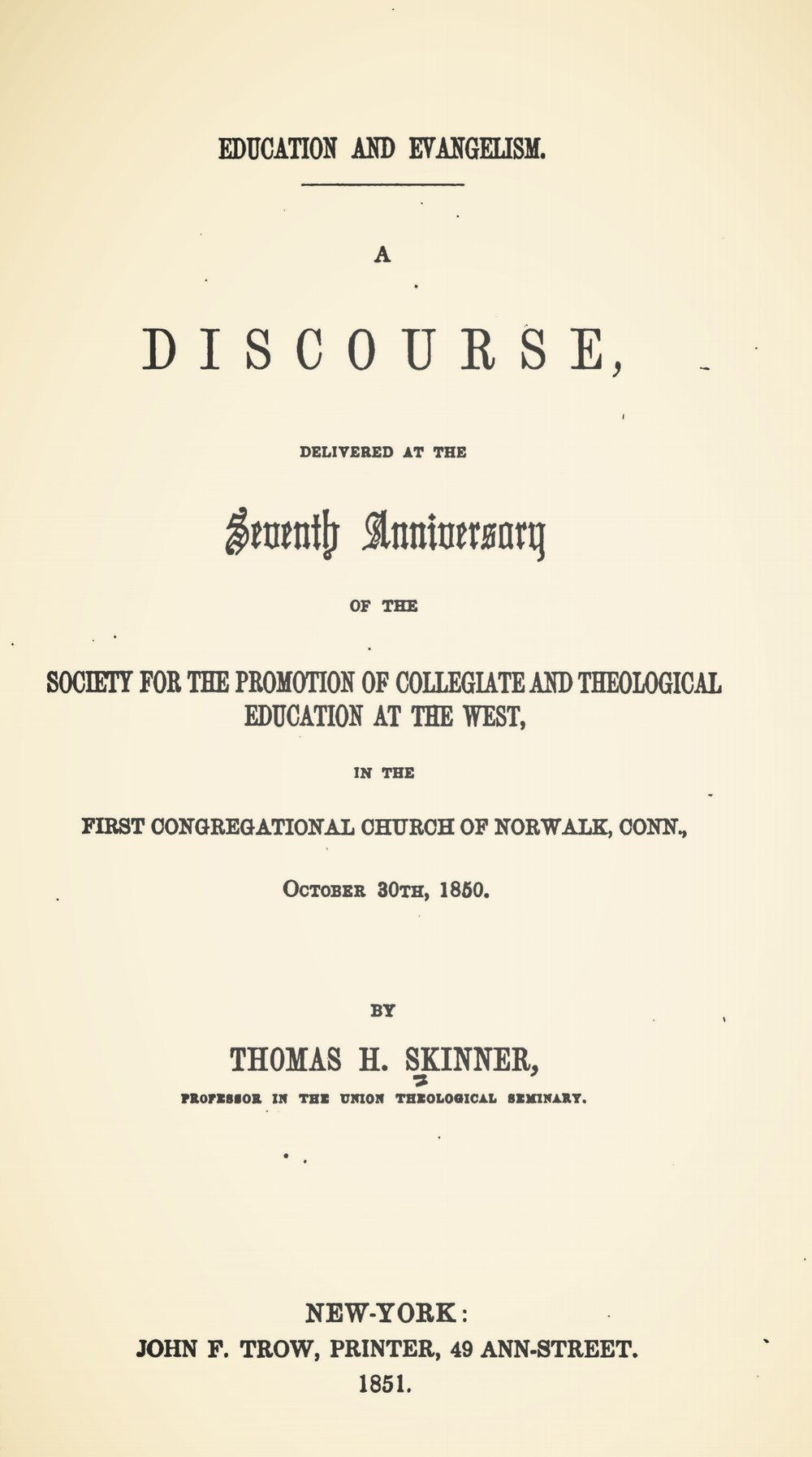 Skinner, Thomas Harvey, Education and Evangelism Title Page.jpg