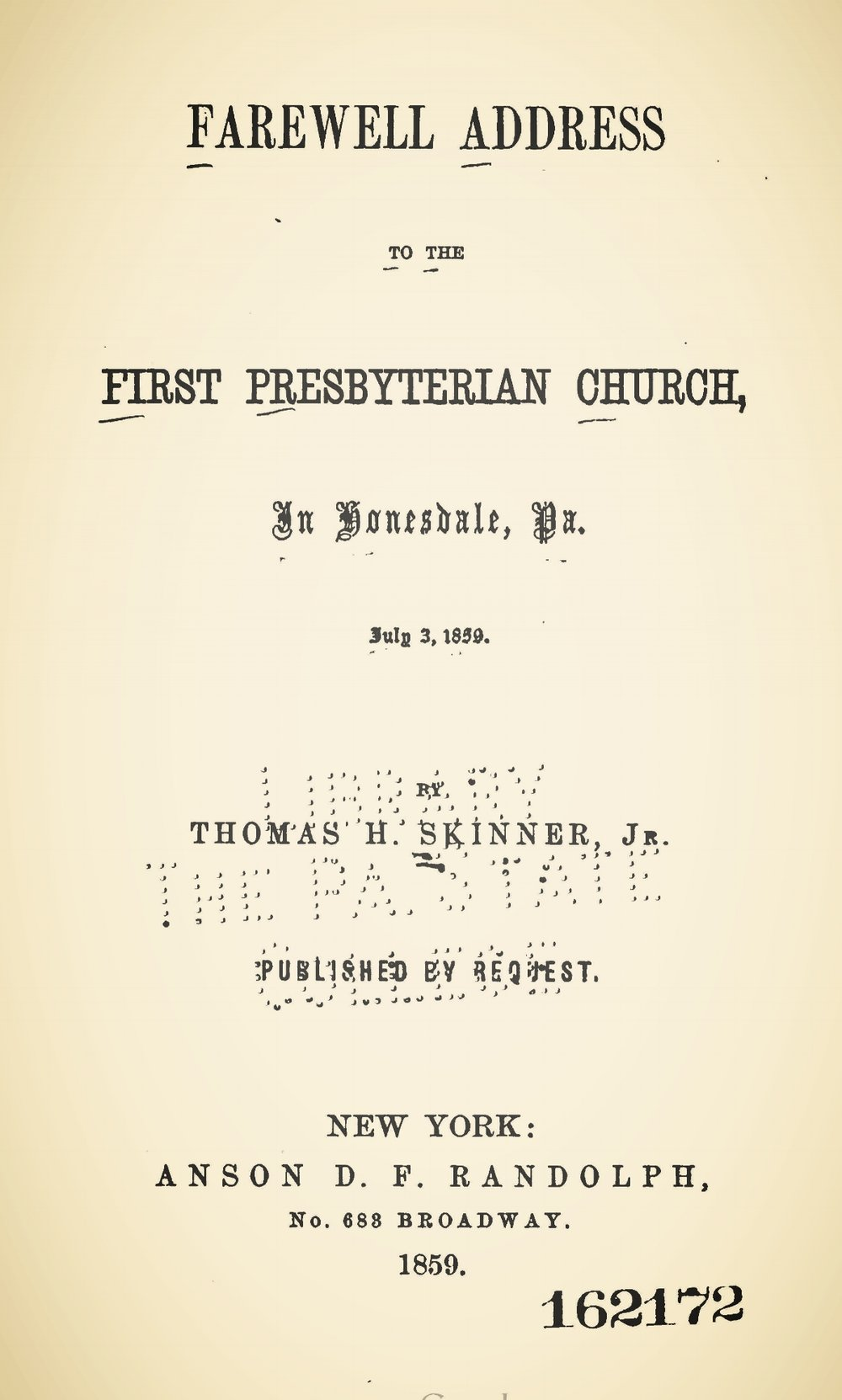 Skinner, Jr., Thomas Harvey, Farewell Address to the First Presbyterian Church Title Page.jpg