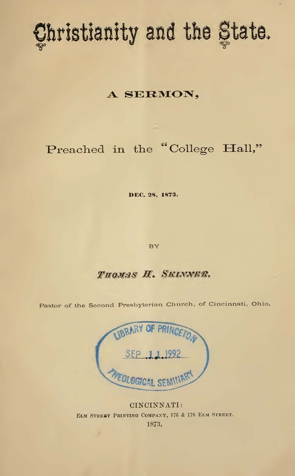 Skinner, Jr., Thomas Harvey, Christianity and the State Title Page.jpg