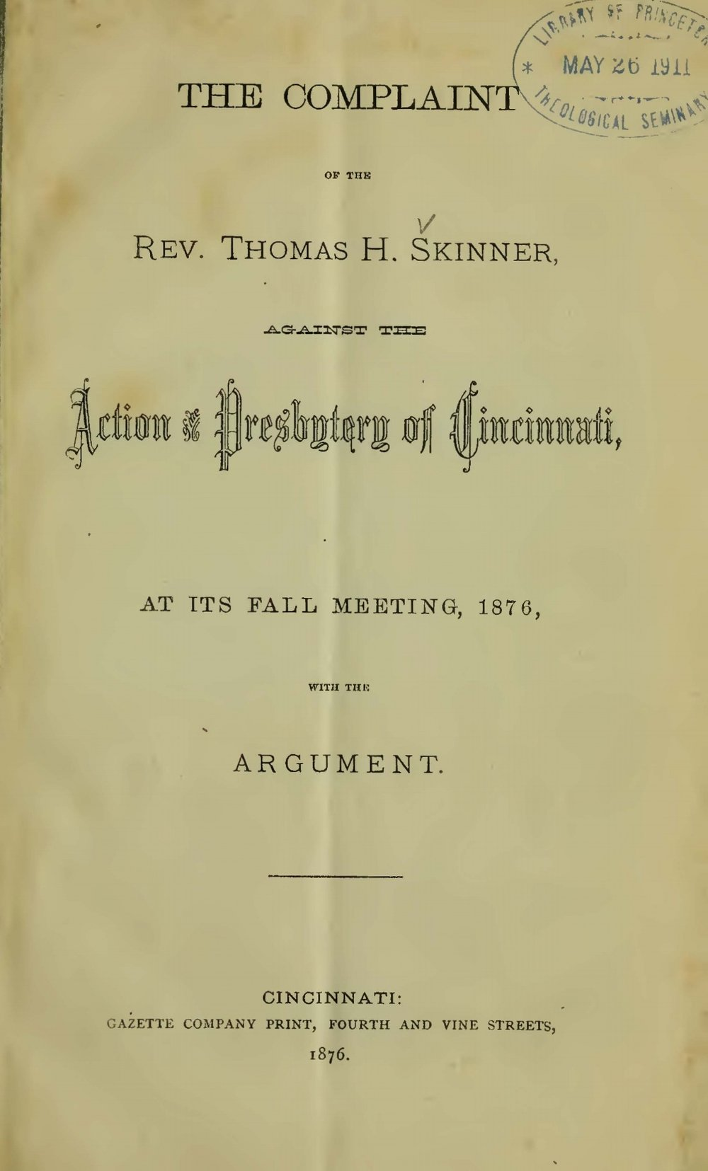 Skinner, Jr., Thomas Harvey, The Complaint of the Rev. Thomas H. Skinner Title Page.jpg