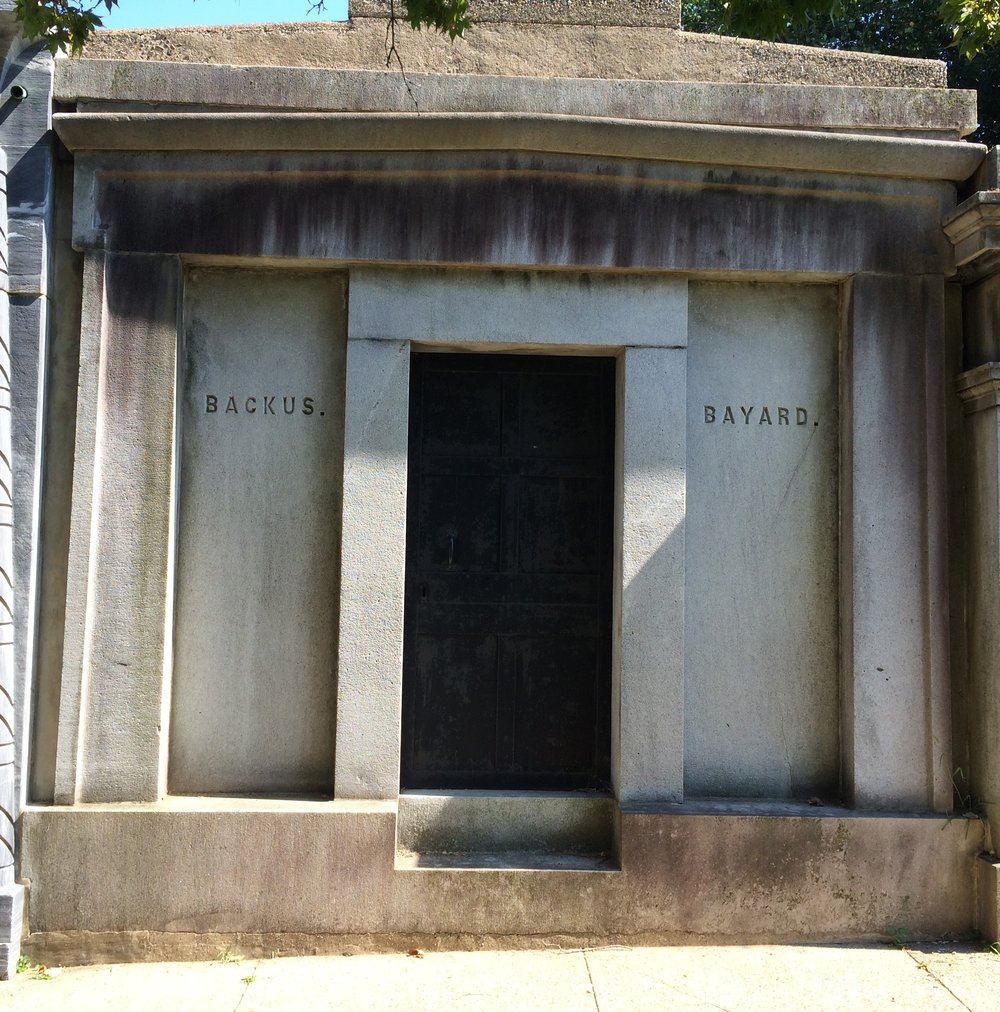 John Chester Backus is buried at Laurel Hill Cemetery, Philadelphia, Pennsylvania.