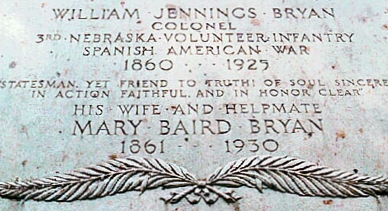 William Jennings Bryan, Sr. is buried at Arlington National Cemetery, Arlington, Virginia.