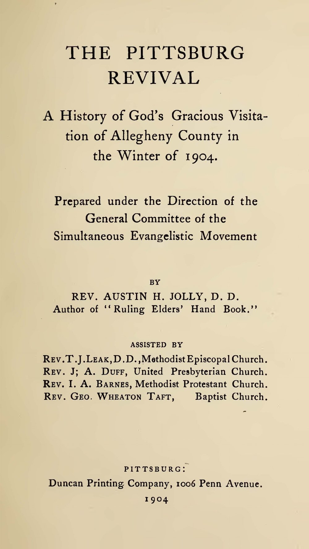 Jolly, Austin Howell, The Pittsburg Revival Title Page.jpg