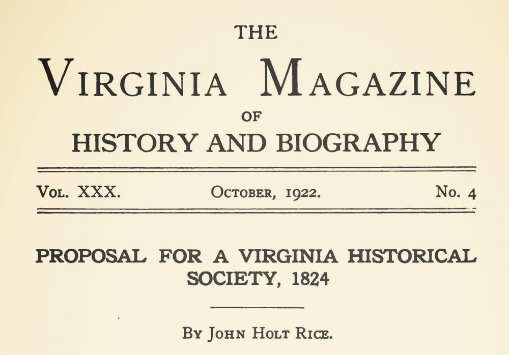 Rice, John Holt, Proposal For a Virginia Historical Society Title Page.jpg