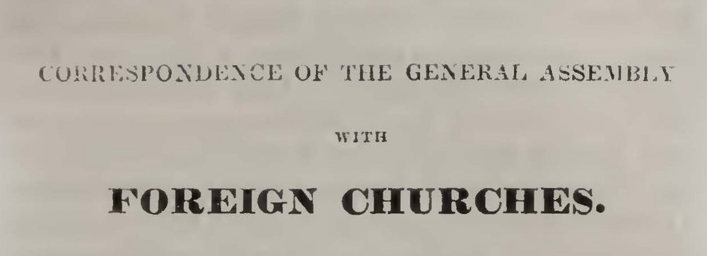 Rice, John Holt, Correspondence of the General Assemby With the Foreign Churches Title Page.jpg