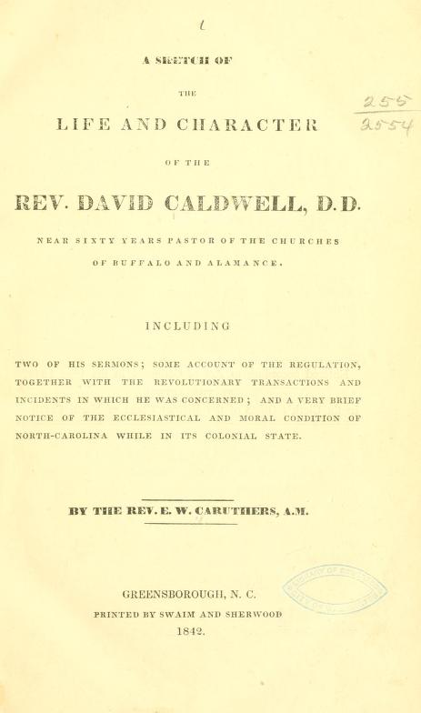 Caruthers, Life and Character of David Caldwell.jpg