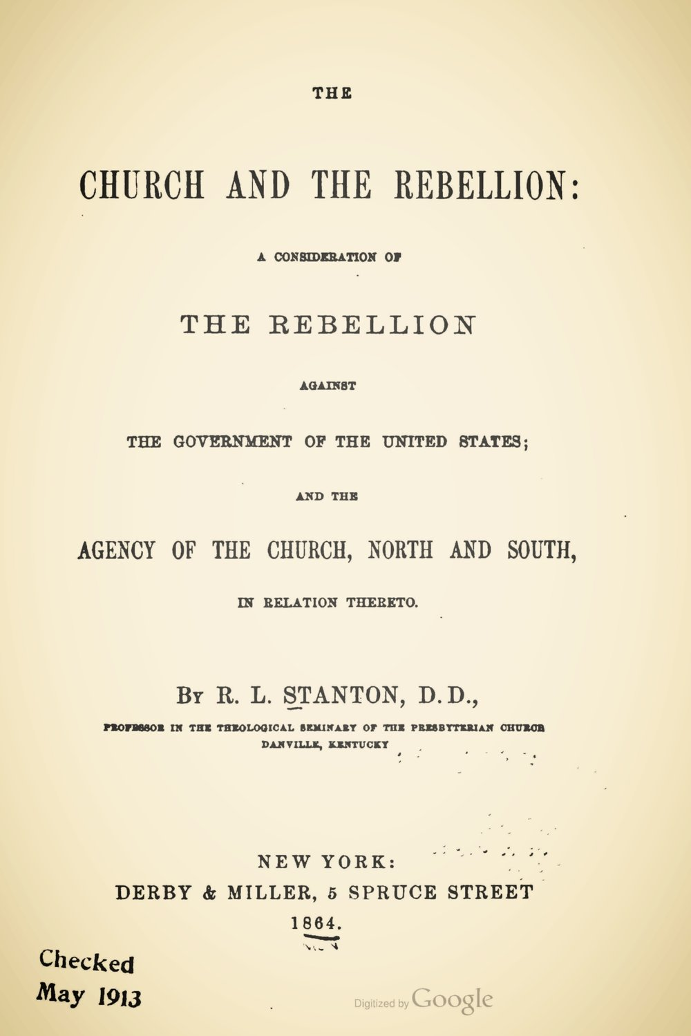 Stanton, Robert Lodowick, The Church and the Rebellion Title Page.jpg