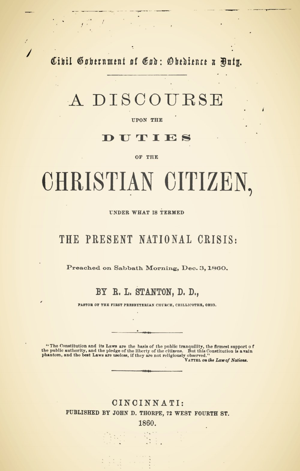 Stanton, Robert Lodowick, Civil Government of God, Obedience a Duty Title Page.jpg