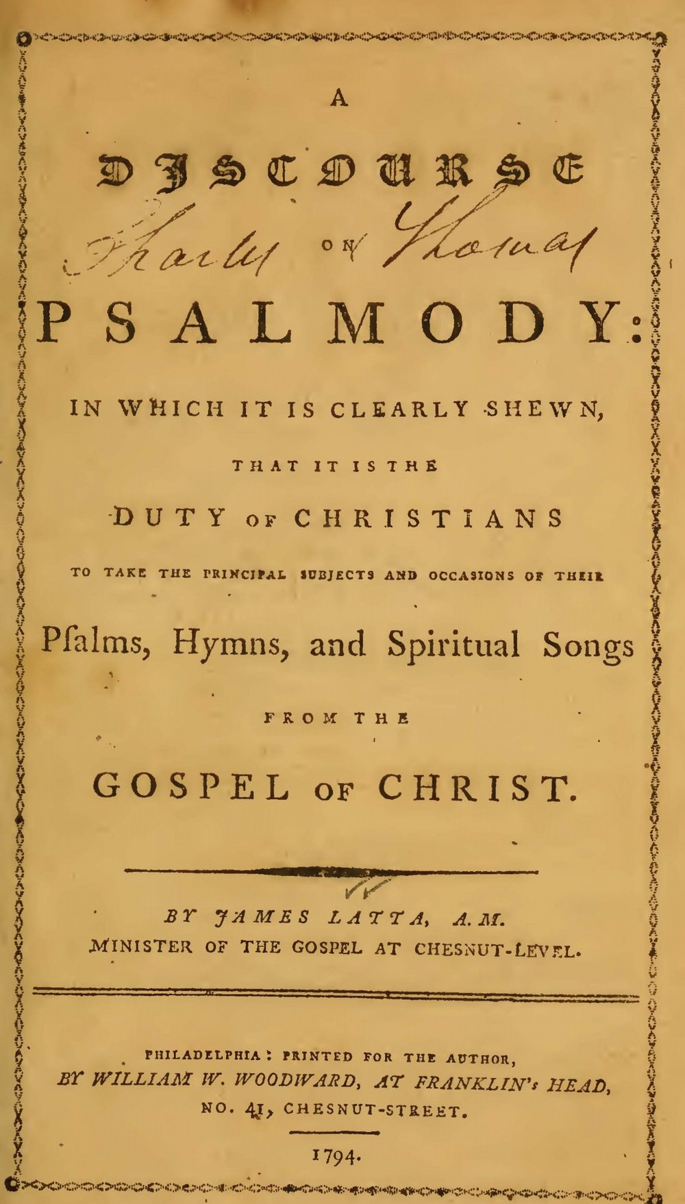 Latta, James, A Discourse on Psalmody Title Page.jpg