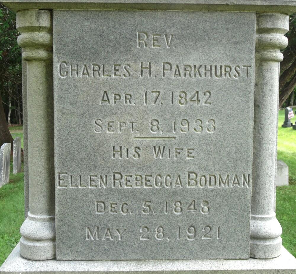 Charles Henry Parkhurst is buried at Village Hill Cemetery, Williamsburg, Massachusetts.