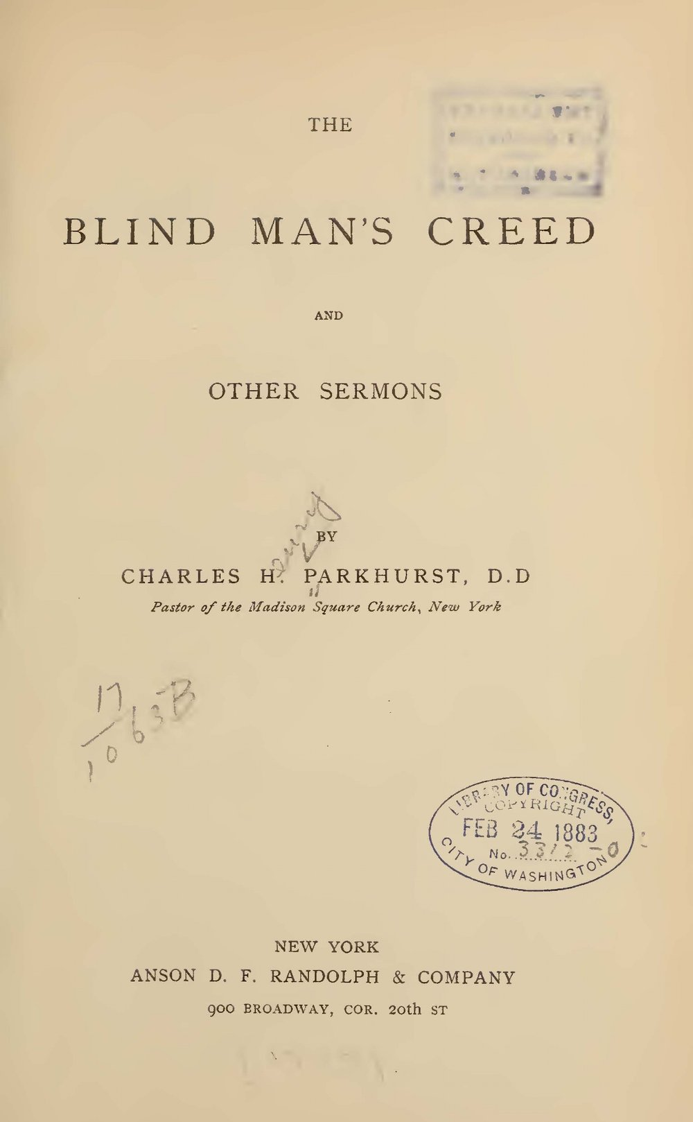 Parkhurst, Charles Henry, The Blind Man's Creed Title Page.jpg