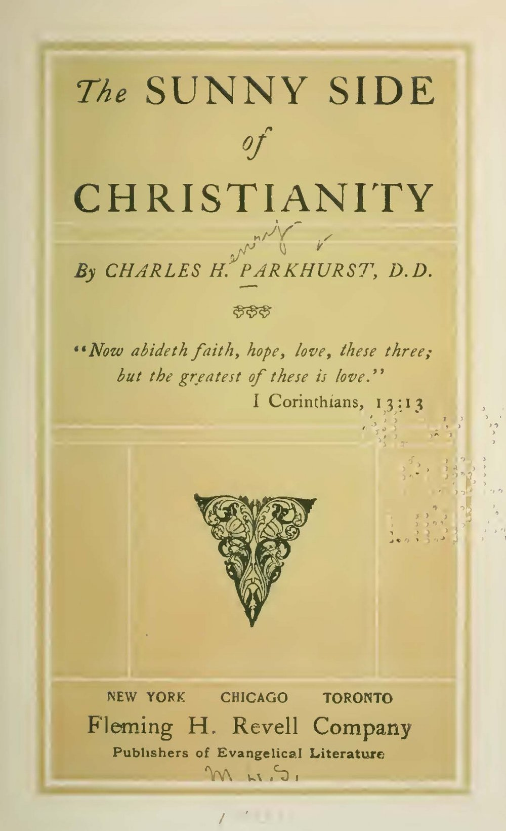 Parkhurst, Charles Henry, The Sunny Side of Christianity Title Page.jpg