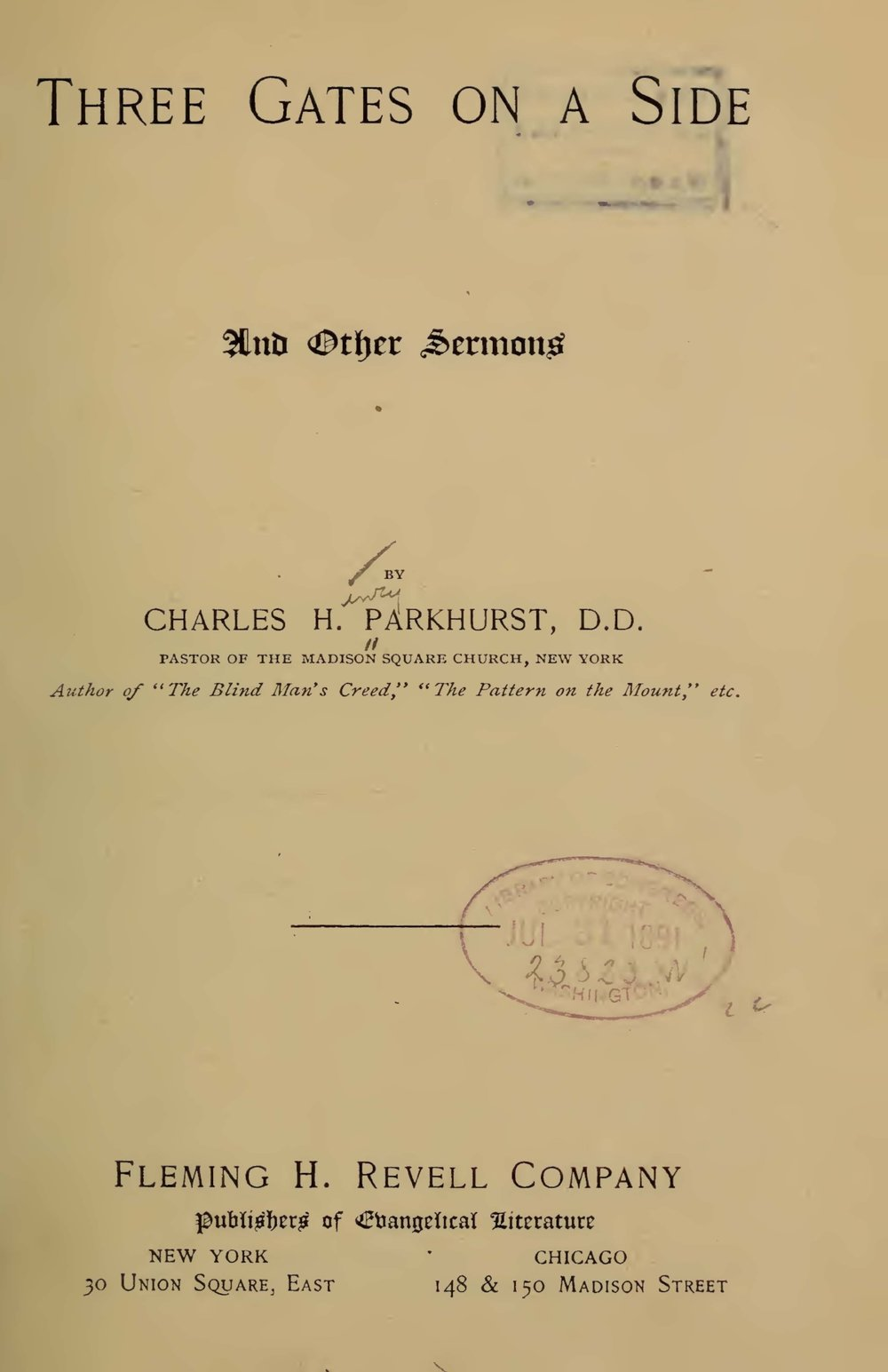 Parkhurst, Charles Henry, Three Gates on a Side Title Page.jpg