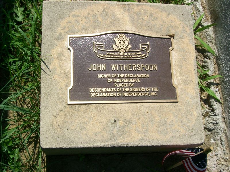 John Witherspoon is buried at Princeton Cemetery, Princeton, New Jersey.