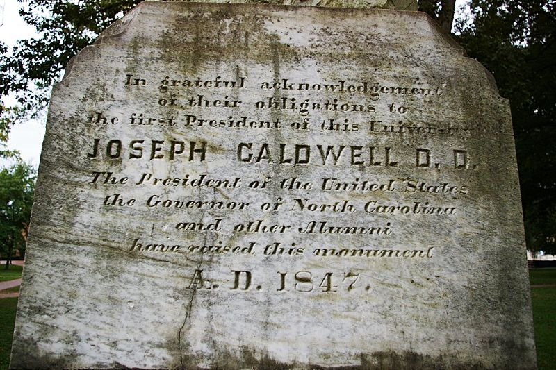 Joseph Caldwell is buried at the Old Chapel Hill Cemetery, Chapel Hill, North Carolina.