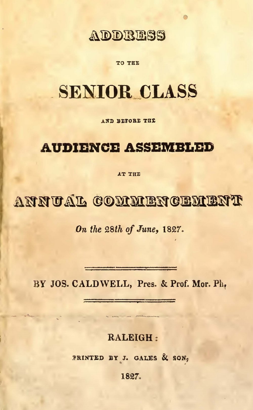 Caldwell, Joseph, Address to the Senior Class Title Page.jpg