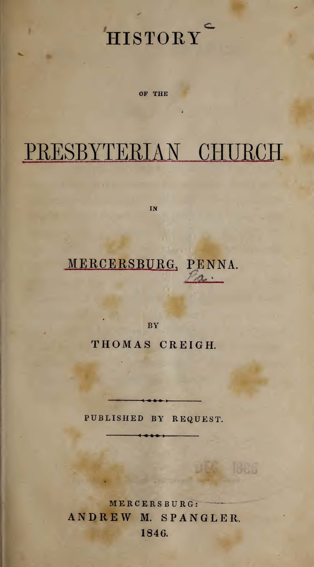Creigh, Thomas, History of the Presbyterian Church in Mercersburg Title Page.jpg