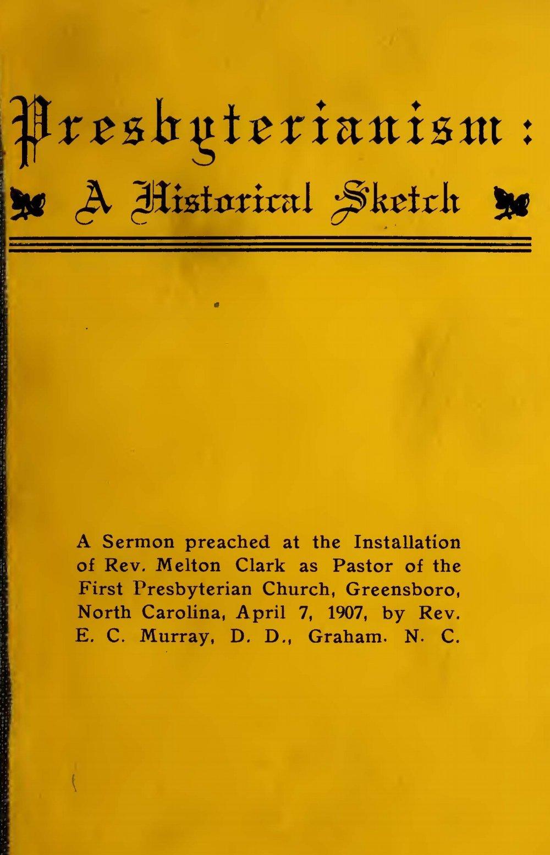 Murray, Ephraim C., Presbyterianism, A Historical Sketch Title Page.jpg