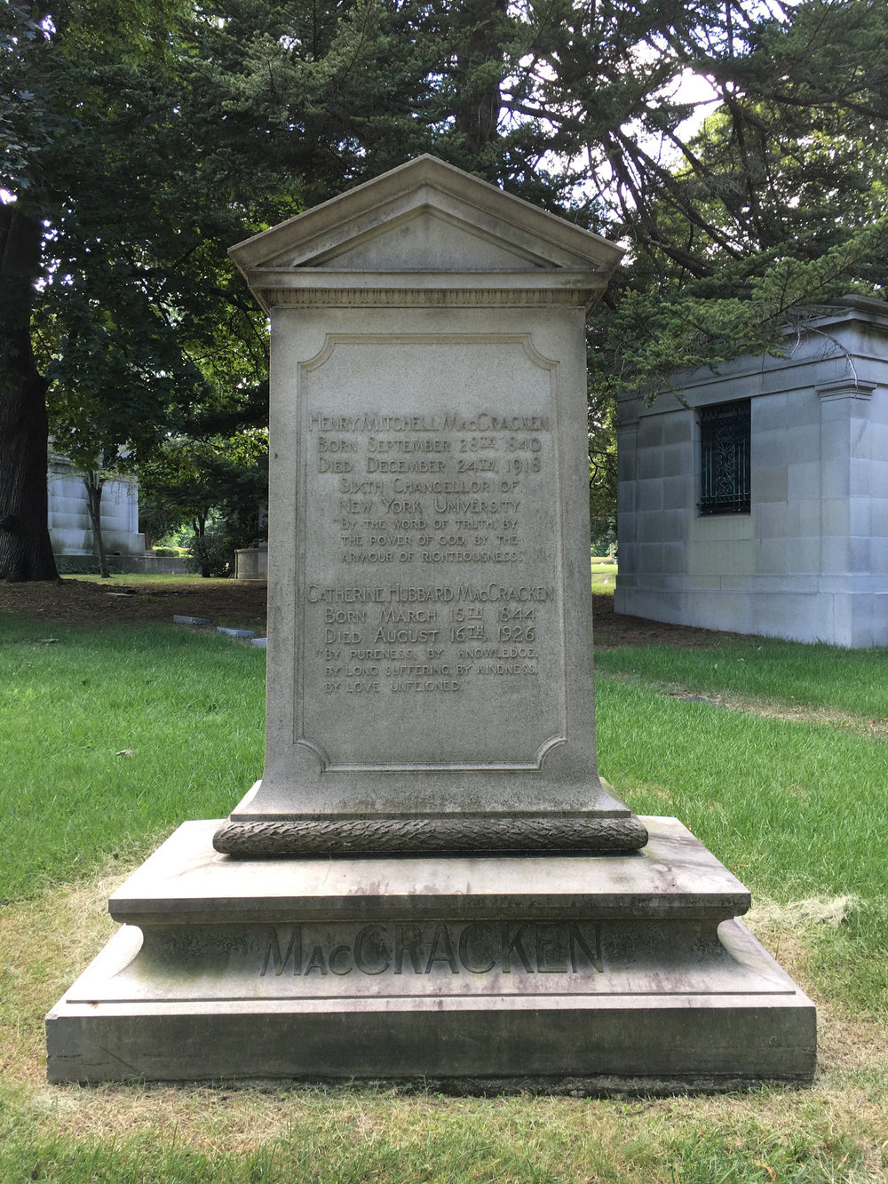 Henry Mitchell MacCracken is buried at Woodlawn Cemetery and Conservancy, Bronx, New York.