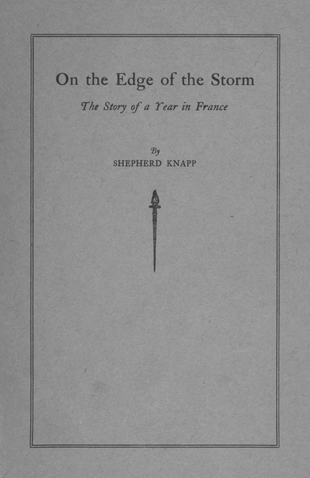 Knapp, Jr., Shepherd, On the Edge of the Storm Title Page.jpg