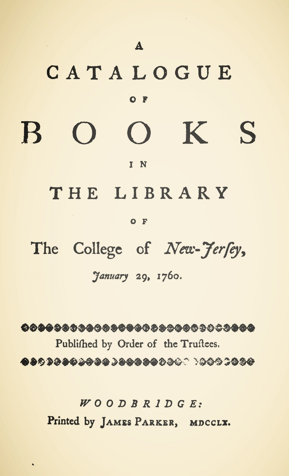 Davies, Samuel, A Catalogue of Books in the Library of the College of New Jersey Title Page.jpg