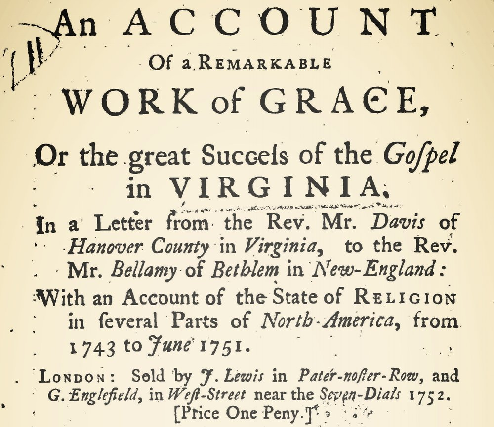 Davies, Samuel, The State of Religion Among the Protestant Dissenters in Virginia Title Page.jpg