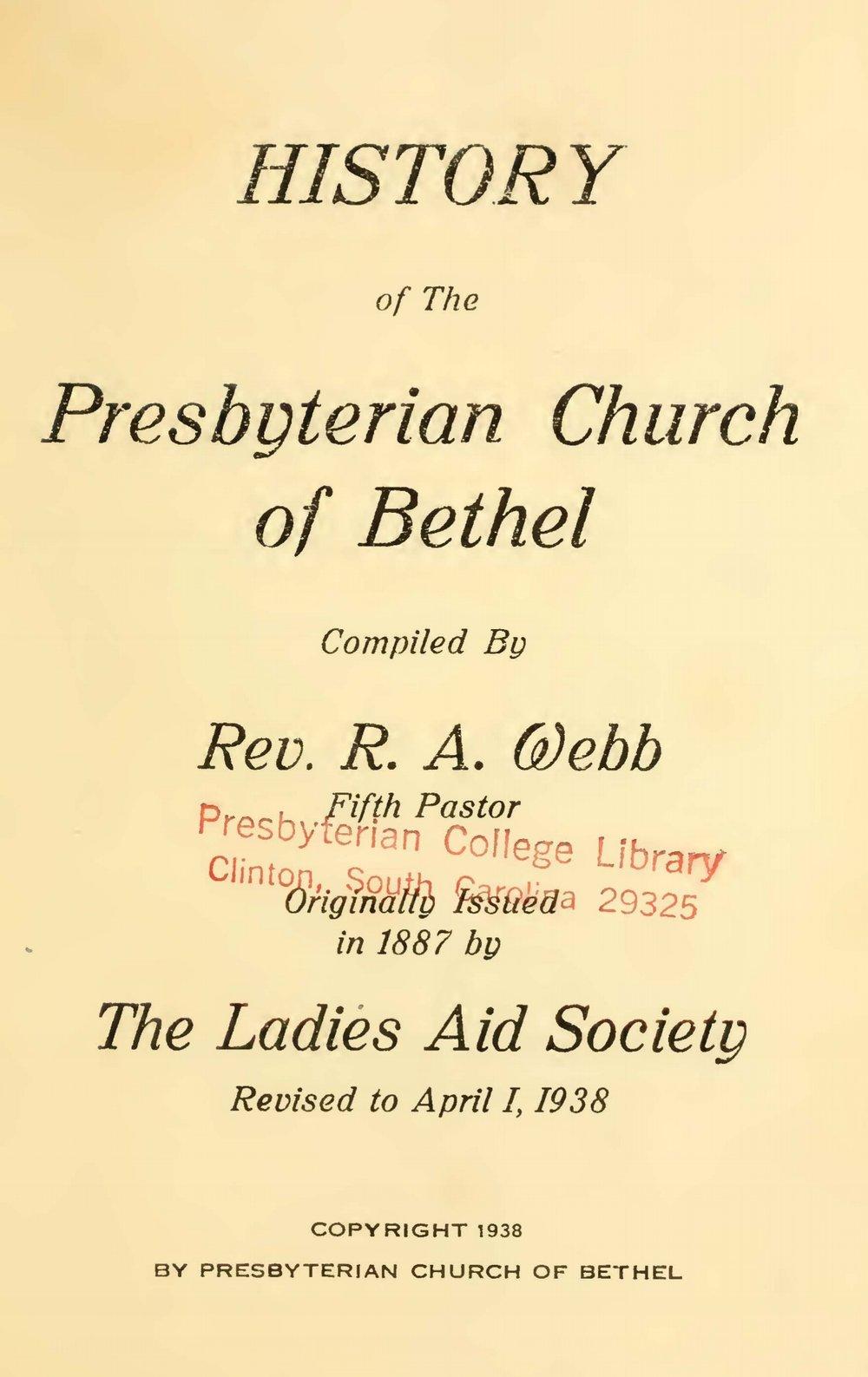 Webb, Robert Alexander, History of the Presbyterian Church of Bethel Title Page.jpg
