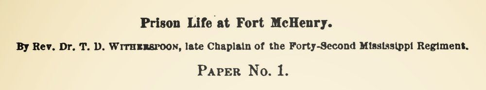 Witherspoon, Sr., Thomas Dwight, Prison Life at Fort McHenry Title Page.jpg