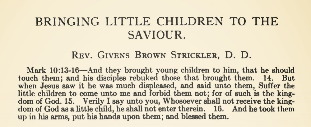 Strickler, Givens Brown, Bringing Little Children to the Saviour Title Page.jpg