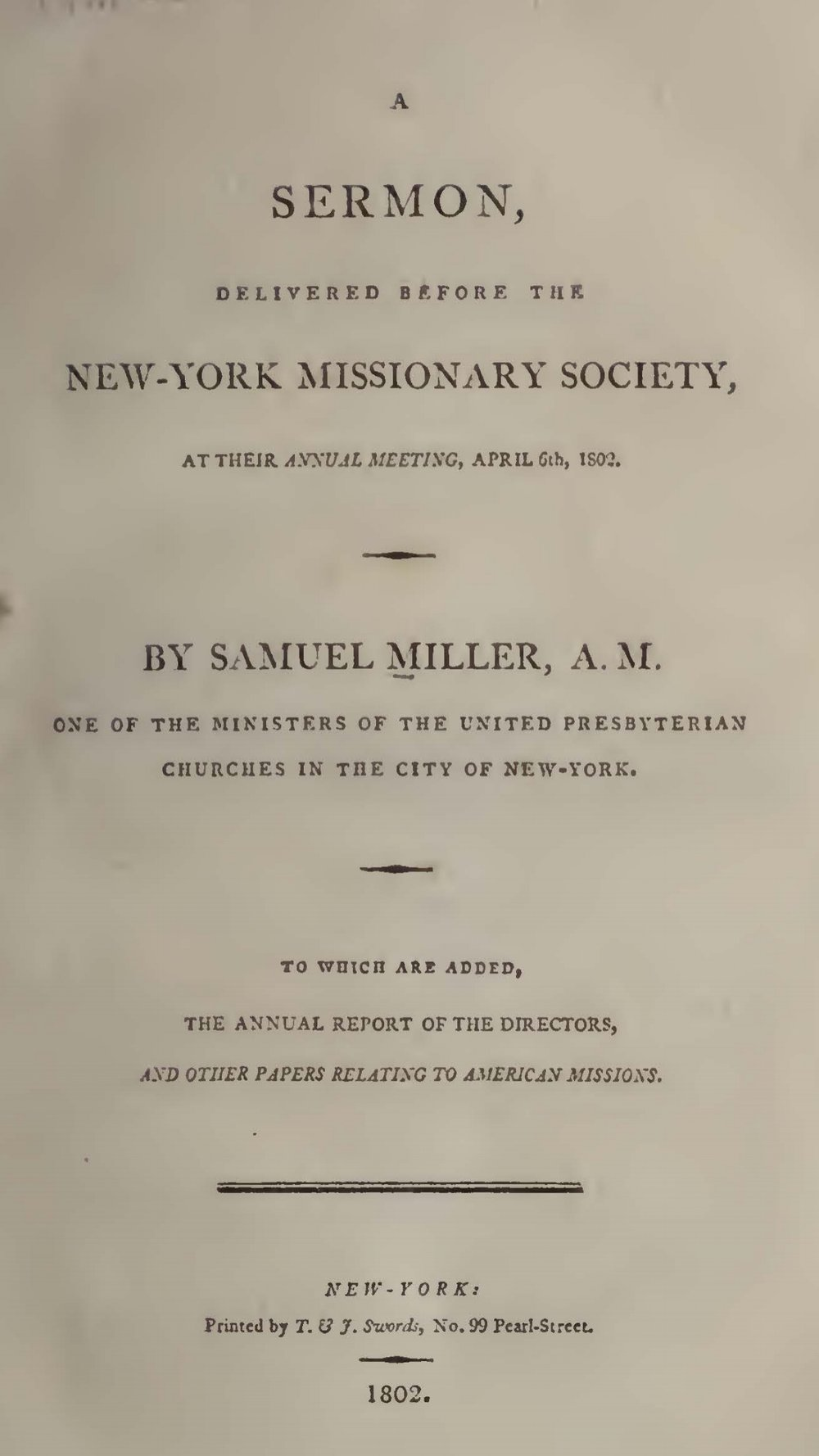 Miller, Samuel, A Sermon, Delivered Before the New-York Missionary Society Title Page.jpg