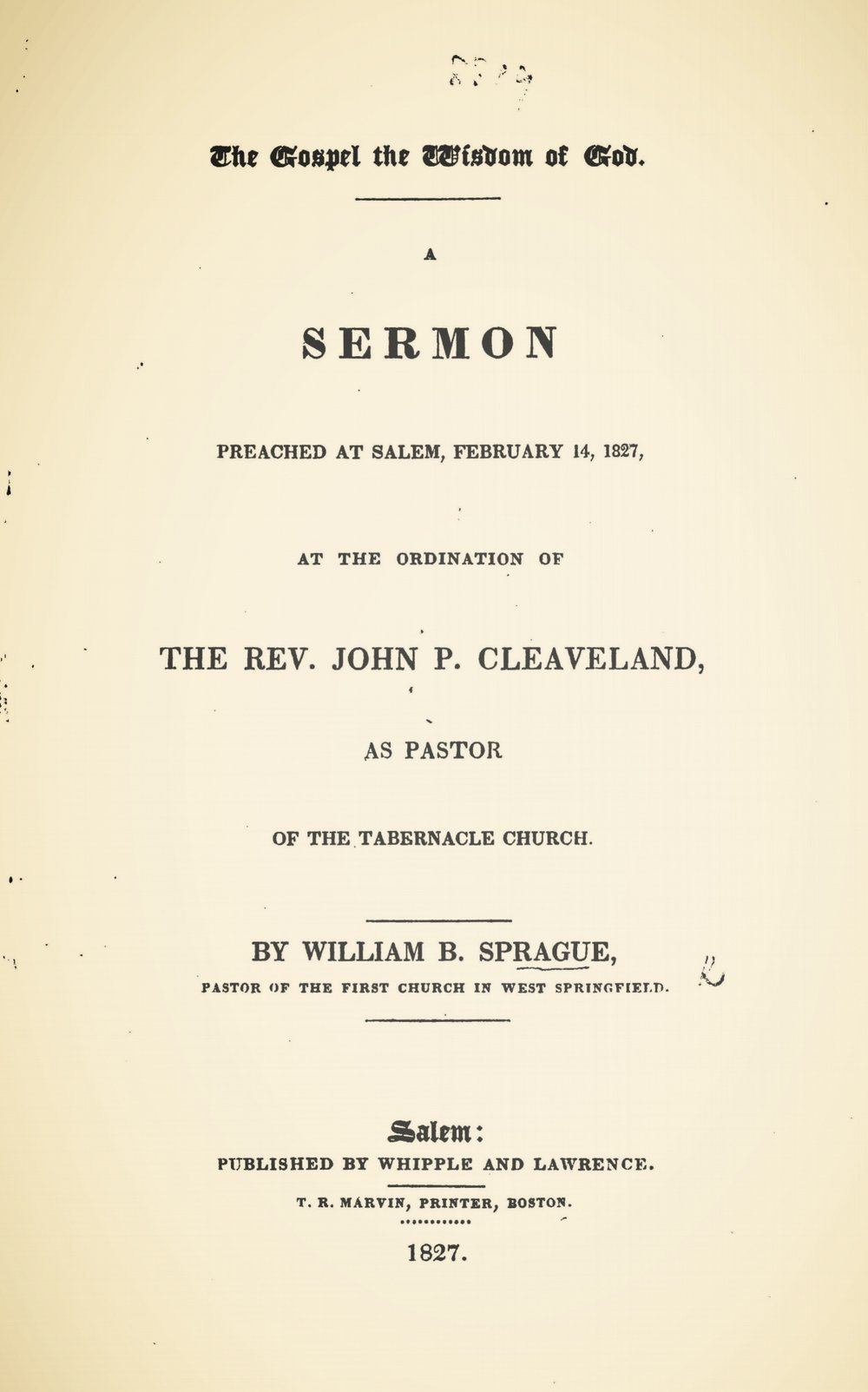 Sprague, William Buell, The Gospel the Wisdom of God Title Page.jpg