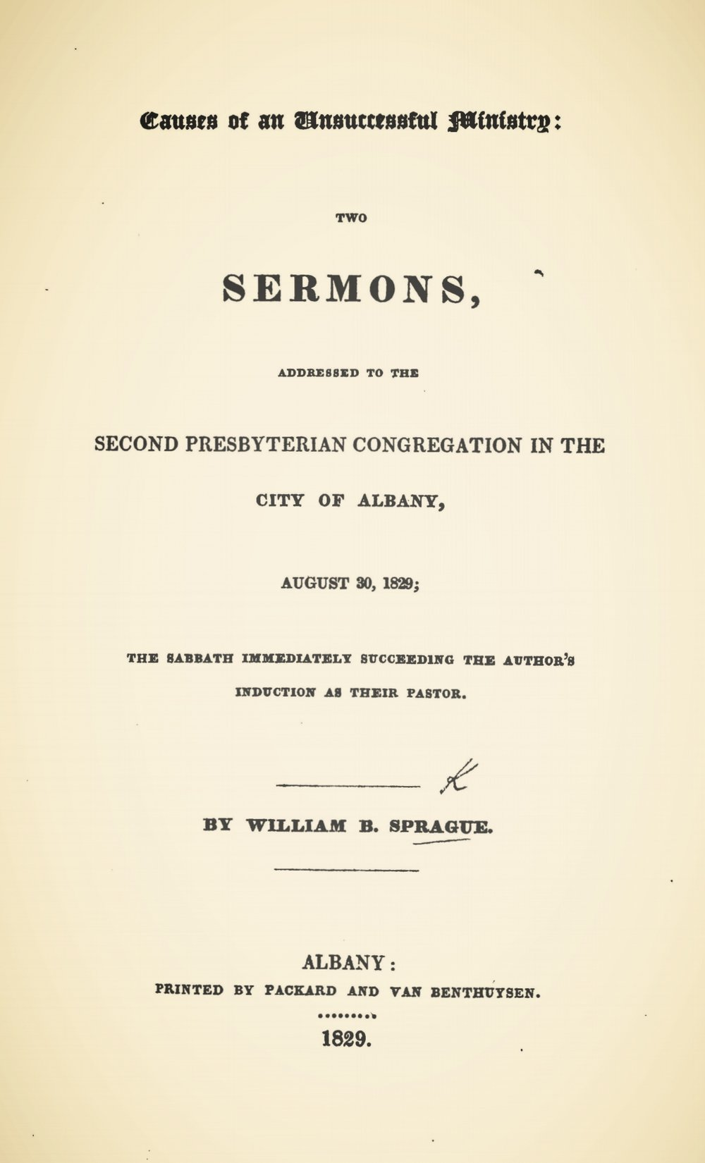 Sprague, William Buell, Causes of an Unsuccessful Ministry Two Sermons Title Page.jpg