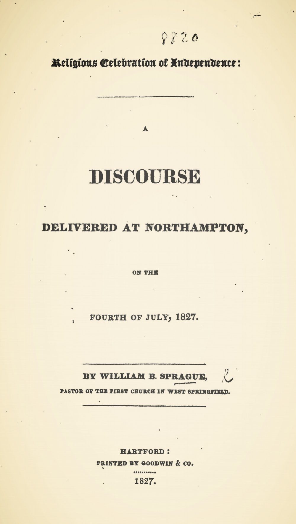 Sprague, William Buell, Religious Celebration of Independence Title Page.jpg