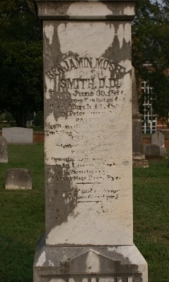 Benjamin Mosby Smith is buried at Union Theological Seminary Cemetery, Hampden Sydney, Virginia.