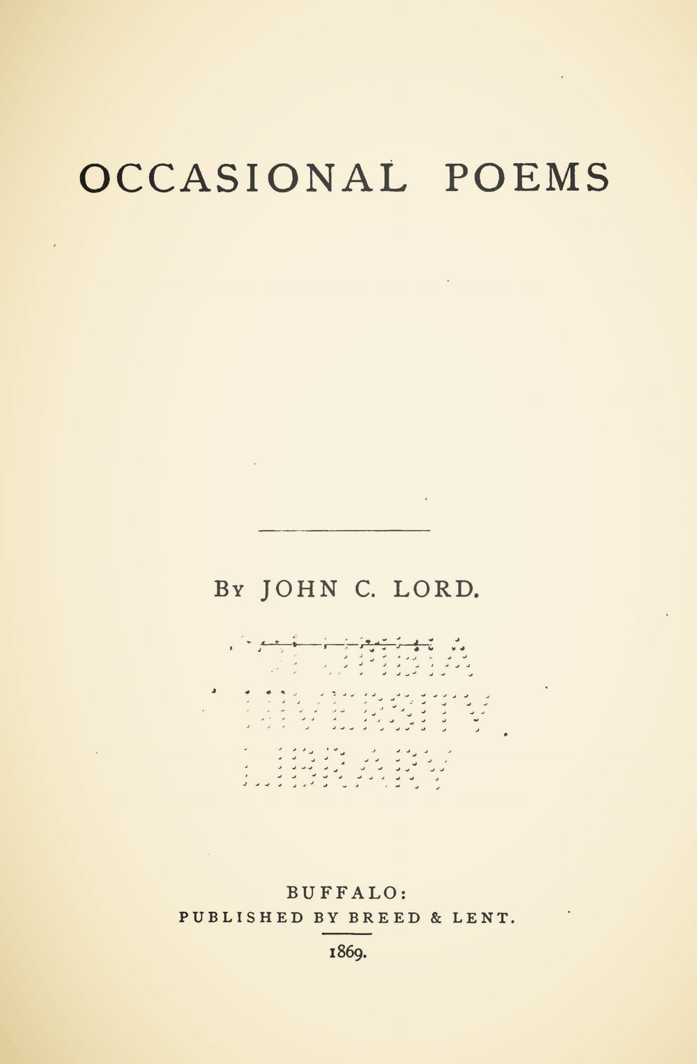 Lord, John Chase, Occasional Poems Title Page.jpg