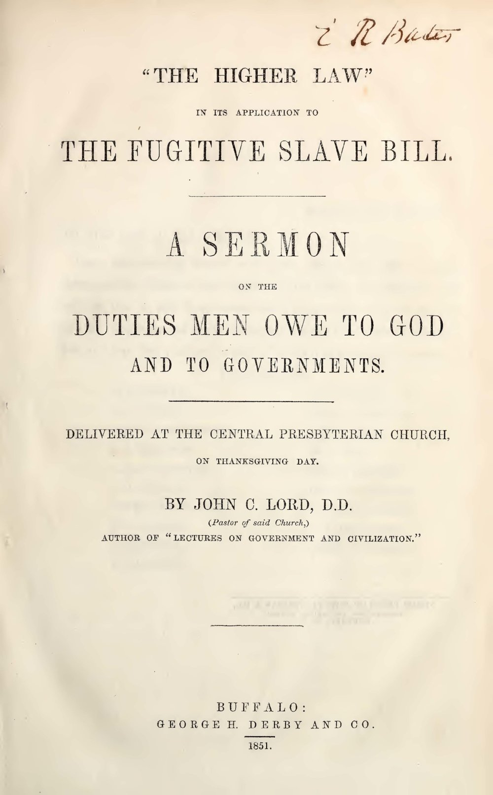 Lord, John Chase, The Higher Law Title Page.jpg